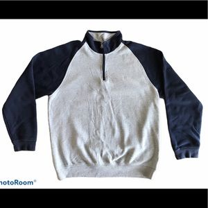 Izod Men's Gray Quarter Zip Fleece Sweatshirt XL